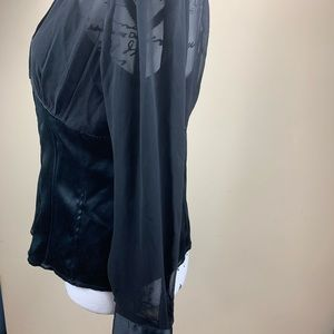 INC International Concepts Tops - Black Sheer Blouse by INC size 12P